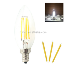 Real Enough watt 2W 4W LED Filament Retro Edison Candle light E14 220V COB LED lamps Glass shade Bulb 360 Degree Chandelier
