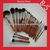 32 pcs wholesale high quality real animal hair professional makeup brush set, natural wooden hand and copper ferrule