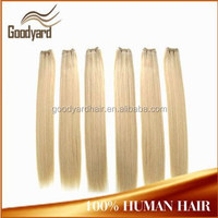 Top quality Full end Double drawn virgin remy human hair blonde machine weft