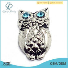 New fashion zinc alloy silver owl floating charms for locket jewelry