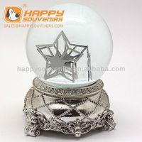 Custom metal design base star snow globe