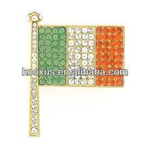 Vintage Crystal Irish Flag Brooch