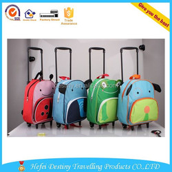 small size 600D polyester animal students wheeled backpack luggage