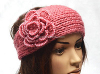 Fashion knitted headband with button closure warm knit headwrap handmade knit crochet headband with flower for women