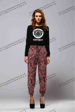 ladies colored printed leggings elastic bottom pants women viscose pants