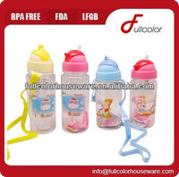 BPA free plastic children bottle with straw and strap