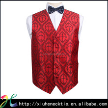 Red print cheap new style waistcoat for men