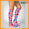 pink fashion women socks cotton socks argyle knee socks for fashion women