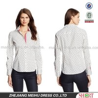 latest design women shirt no pocket woven tape on inner collar slim fit sexy lady dress shirt