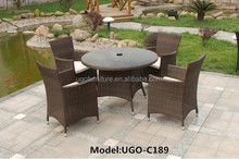 UGO Wicker Furniture Outdoor Table with Chairs to Passing Rattan with Umbrella Hole