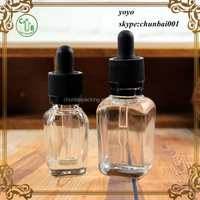 Trade Assurance!! clear square 30ml glass dropper bottles with black caps for vapor juice
