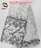 Hot sale African french net lace fabric with shinny sequins for evening dress NL10160