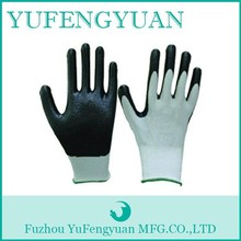 13G Knitted nylon liner black nitrile dipped gloves
