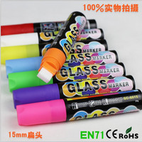 15mm JUMBO Highlighter Fluorescent Chalk Marker Pens Liquid Wet 8 Colors Set Pack 6mm for windows glass plastic poster