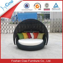 Circular rattan outdoor beach cabana beds with canopy
