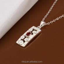 2015 wholesale plain board pendant red cz 925 sterling silver jewellery