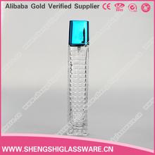 Transparent vide rectangulaire fantaisie parfum bouteilles en verre avec pompe de pulvérisation