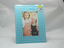 Blue Grid Cute Kids 4x6 Glass Photo Picture Frame For Promotion Gifts