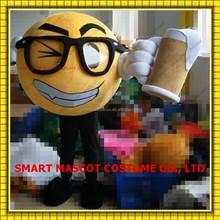 Life size soft plush yellow ball mascot costume with beer mug hold in hand yellow ball mascot costume