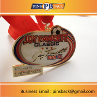 Custom sport medal with soft enamel process , and epoxy top , printed ribbon attached