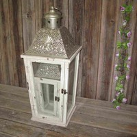 Shabby chic wooden candle lantern with copper metal top