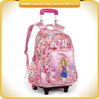 Cute girls trolley school bag cartoon style children trolley school bag for sale