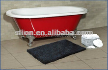 Freestanding acrylic red oval portable bathtub with four clawfoot