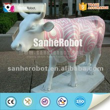 Fiberglass animated cow for outdoor decoration