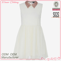 Ladies' beading collar back slit cute style sleevless slim fit casual high quality direct manufacture off white formal dress