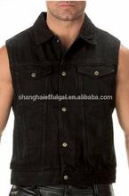 black denim vest Adults wear-resisting black denim vest outer wear wearproof jean vest men
