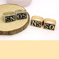 Fahion Gold Plated and Silver Plated Jewelry New Products 2016 Alphabet Couples Ring