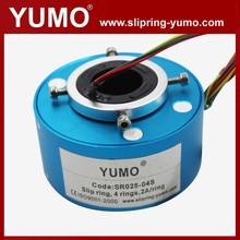 SR025 4 wires rotating connector carbon brush holder hole through bore slip ring electrical swivel