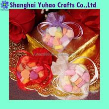 Double ribbon pull tie organza gift bag pouch