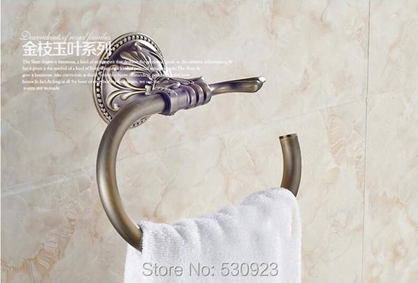 Купить Недавно традиционный античная бронзовая ванной полотенце кольцо стойки резной узор полотенцедержатель полка настенные