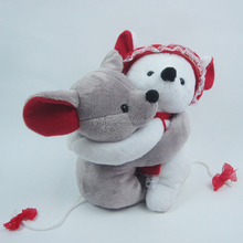 Minnie Stuffed Mouse Toys Grey And White Mice Hug Together