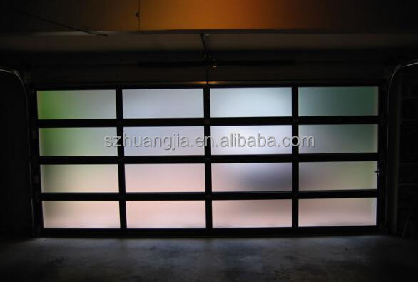 Black anodized aluminum frame automatic frosted tempered for Opaque garage door