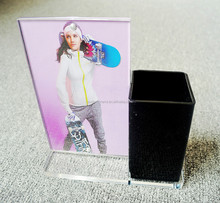 acrylic photo frame with pen holder ,assembled Desktop Stationery