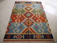 Turkish Mediterranean style lattice Lim kilim rugs hand-woven wool / living room coffee table carpet