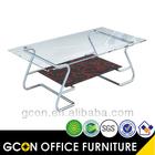 tampo de vidro mesa de chá vidro curtas de mesa com base de aço design moderno