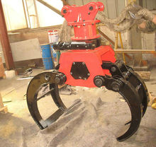 excavator parts PC200 rotary stone grapple with cylinder,hoses,pins