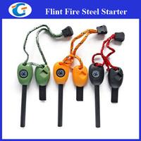 Survival Fire Starter Flint Whistle Compass Saw Ruler Kit For Outdoor Emergency