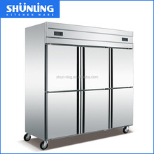 high quality Commercial 6 doors 1600L Commercial Stainless Steel kitchen refrigerator