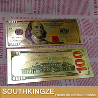 New Version US 100 Dollars Colorful 24k Gold Foil Replica Banknote