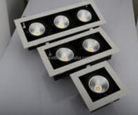 triple grid LED downlight,COB LED,3 heads, 30W x 3, rectangular, tiltable,5000K/4000K/3000K,6300 lumen, 36/60 deg, factory