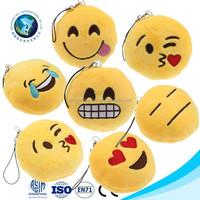 Customs stuffed soft plush keychain emoji popular cheap mini pillow stuffed plush custom whatsapp emoji emoticon keychain