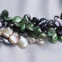 14mm AA grade multi color can be choosed coin shape dyed pearl string