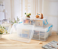 transparent plastic storage box with handle