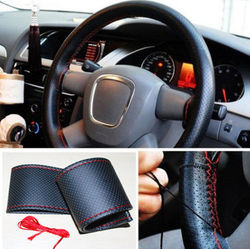 2015 Hot Sale New Universal PU Leather DIY Car Steering Wheel Cover Case With Needles and Thread