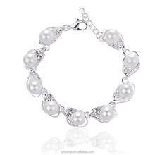 2015 New Arrived silver plated bracelet gold Plated Artificial Pearl Women Elegant bracelet Fashion Bijuterias