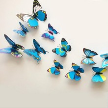 Free shipping mix color wall sticker 3D PVC butterfly sticker, beauty your life